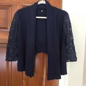 Anthropologie Knitted and Knotted Navy Crop Shrug